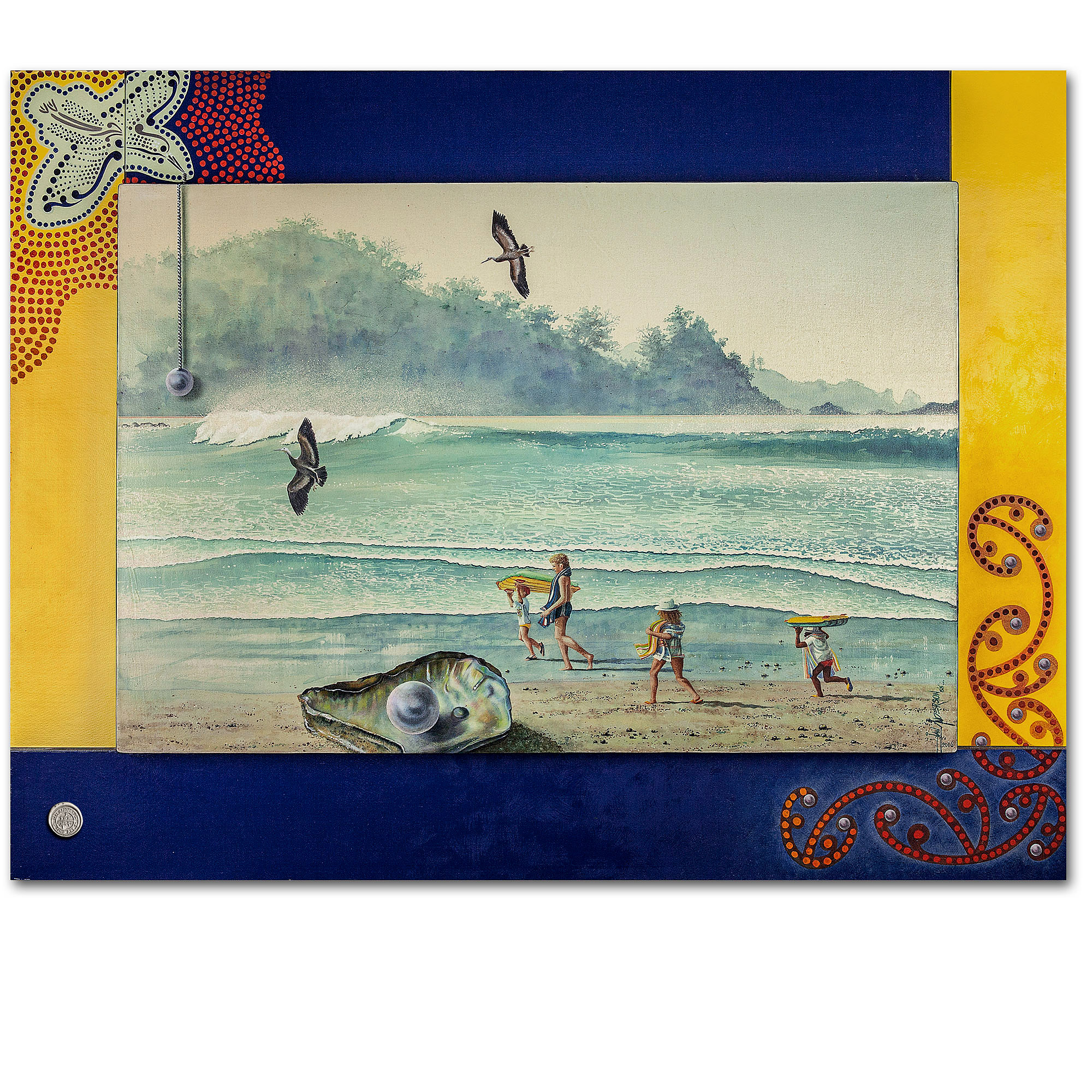 A journey of dreams. An oil painting of children and wildlife at the beach.