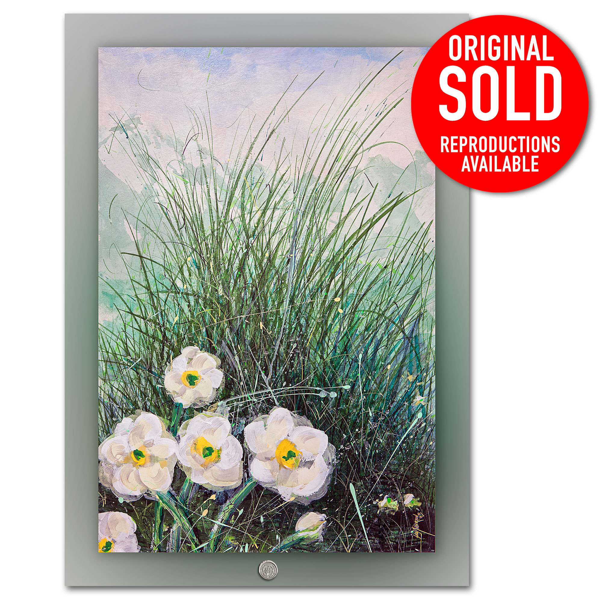 Mountain Daises 2 - Mixed media painting on gesso primed hard board by Ian Anderson