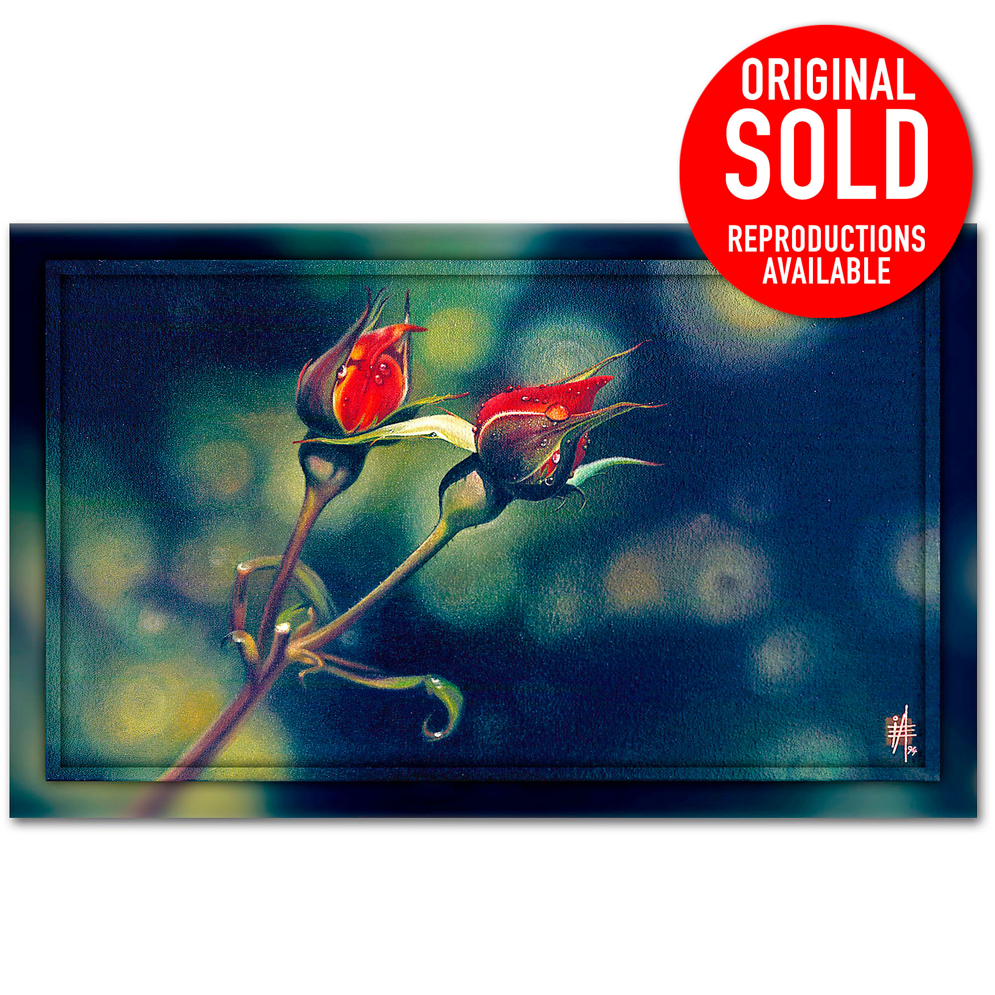Red Rosebud photorealistic painting New Life Awakening, work Ian Anderson Fine Art