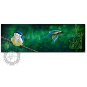 Kingfisher peace birds flight. Rest and meditation - Original oil painting on stretched canvas