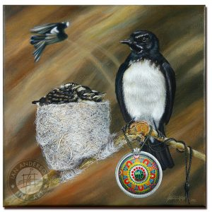 Willy Wagtail and its family in the nest and indigenous story in a pendant