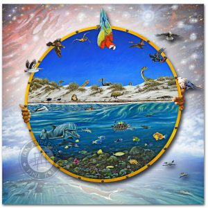 Dolphins universe animals birds - The Wonder of it All - Oil painting